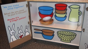 My goofy bunny illustration in the Kitchen cabinets