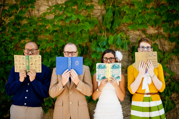 Library-themed wedding shoot by Jeff Loves Jessica Photography, as seen on Style Me Pretty