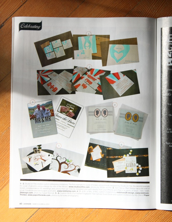 page 60 of Lavender magazine, featuring same-sex wedding invites by redshoes26 design