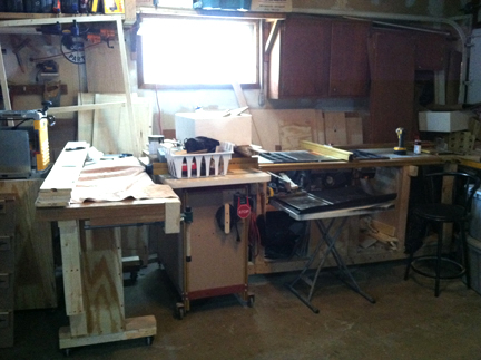 "The garage turned ""shop,"" aka, ""Where the magic happens."""