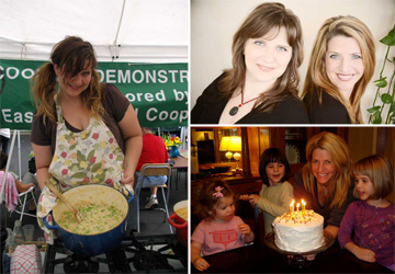 Heidi & pea risotto, the Boss Ladies, Amy with her daughters & a homemade cake
