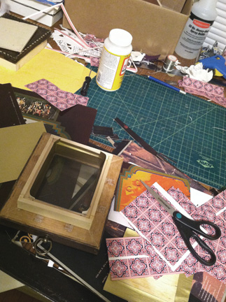 Look at this mess! That can mean only one thing...it's shadowbox-making time.