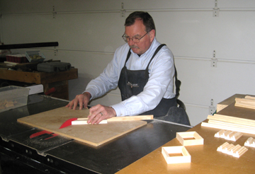 Jeff Johnson, hard at work cutting frames for State Icons