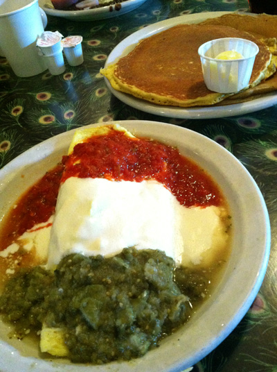 My unbelievable omelet and gingerbread pancake. It was one of the best breakfasts I've ever had. And that's a bold statement, coming from this breakfast lover. Salsa, sour cream, and salsa verde....it was seriously so good.