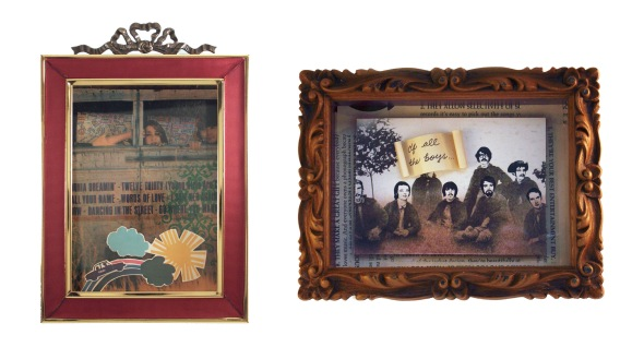 Mixed-media shadowboxes by Christy Johnson, redshoes26. From L to R: Please Come With Me, and I Choose You.