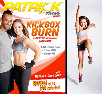 Heather Corndorf's Cardio Kickboxing video, left, and a shot of her doing what she does, right.